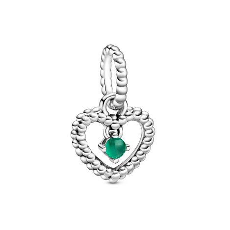 Dark Green Beaded Heart Dangle Charm