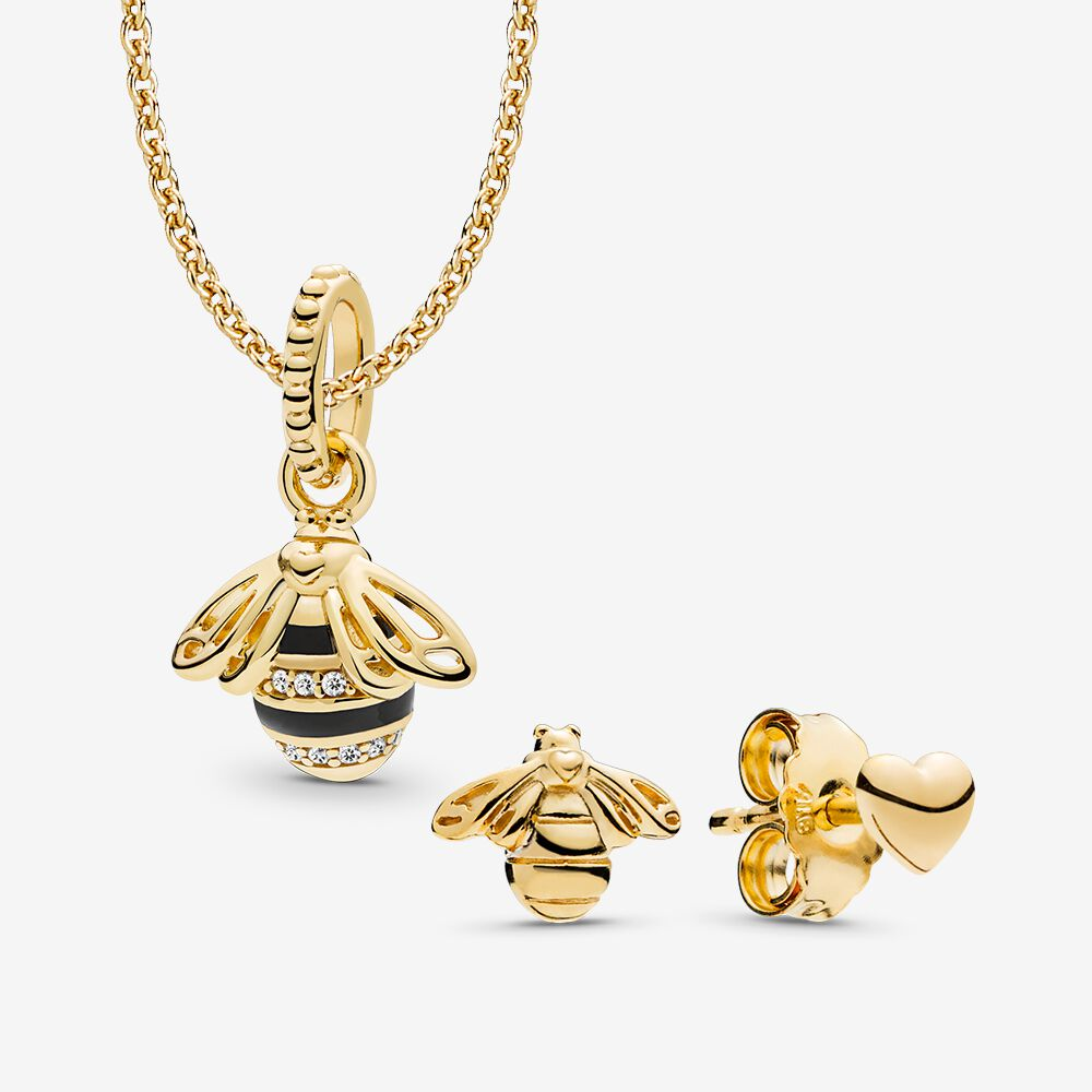 pandora bee and heart earrings