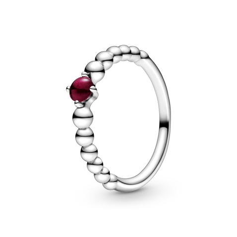January Dark Red Ring with Man-Made Dark Red Crystal