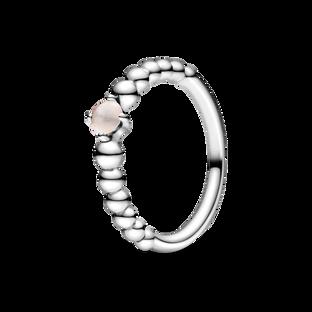 June Misty Rose Ring with Man-Made Misty Rose Crystal