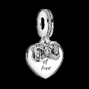 Bow and Love Heart Dangle Charm