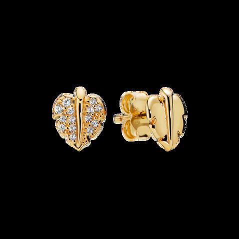 Pandora Shine Shining & Sparkling Leaf Stud Earrings