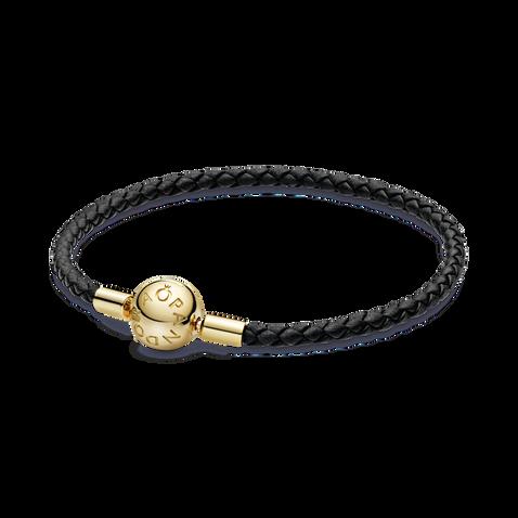 Pandora Moments Black Woven Leather Bracelet