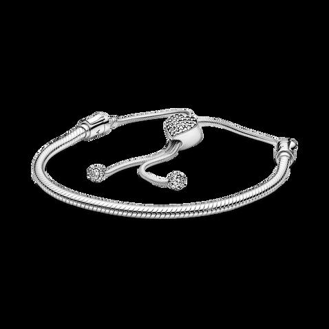 Pandora Moments Pavé Heart Clasp Snake Chain Slider Bracelet