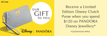 Receive a Limited Edition Disney Clutch Purse when you spend $120 on PANDORA Disney Jewellery